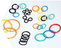 Many rubber o rings are displayed, they have different sizes and colours.