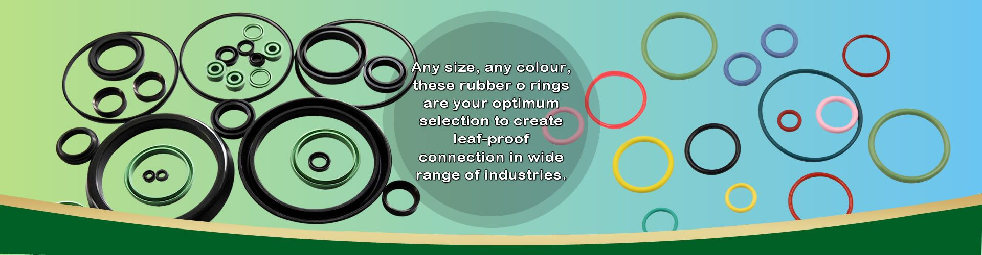 There are several rubber o rings in different colours, black, red, yellow, green, purple, etc.